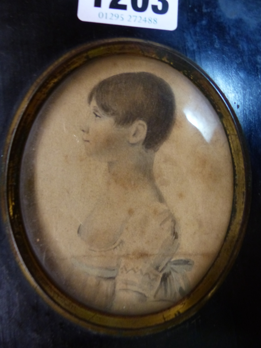 FOUR BLACK FRAMED PORTRAIT MINIATURES, ONE OF THE TWO PORTRAITS OF LADIES INSCRIBED ON THE BACK - Image 4 of 7