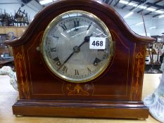AN EDWARDIAN INLAID MANTLE CLOCK BY PHILLIPS OF LIVERPOOL.