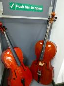 A STENTOR 1/8 SIZE CELLO TOGETHER WITH ANOTHER UNLABELLED
