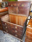 A 19th C. MAHOGANY CHEST, ONCE OF TWO SHORT AND GRADED LONG DRAWERS ON BRACKET FEET, NOW CONVERTED