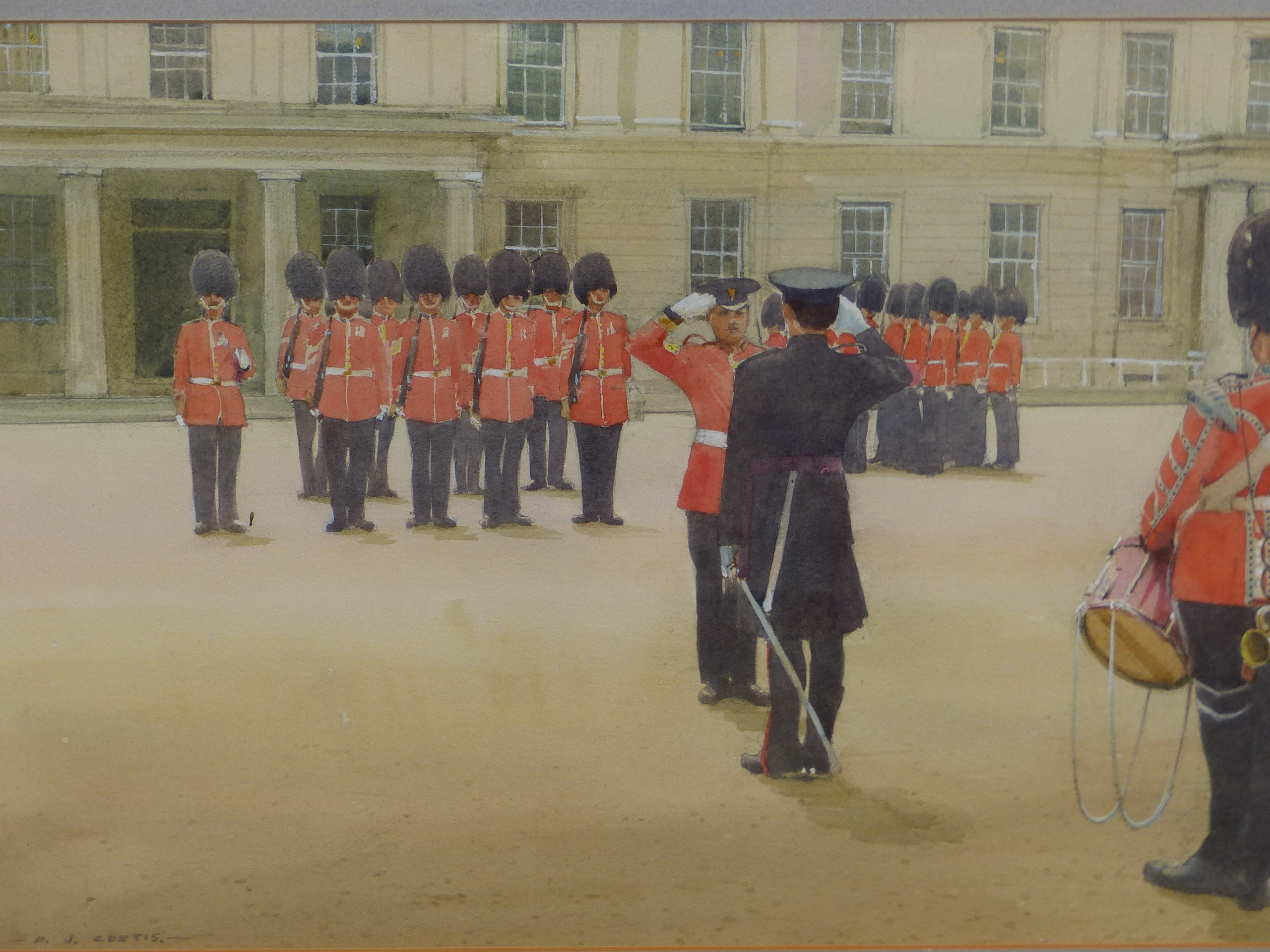 D.J CURTIS (1948 - ) ARR. GUARD MOUNTING AT WELLINGTON BARRACKS. SIGNED WATERCOLOUR GALLERY LABEL - Image 3 of 7