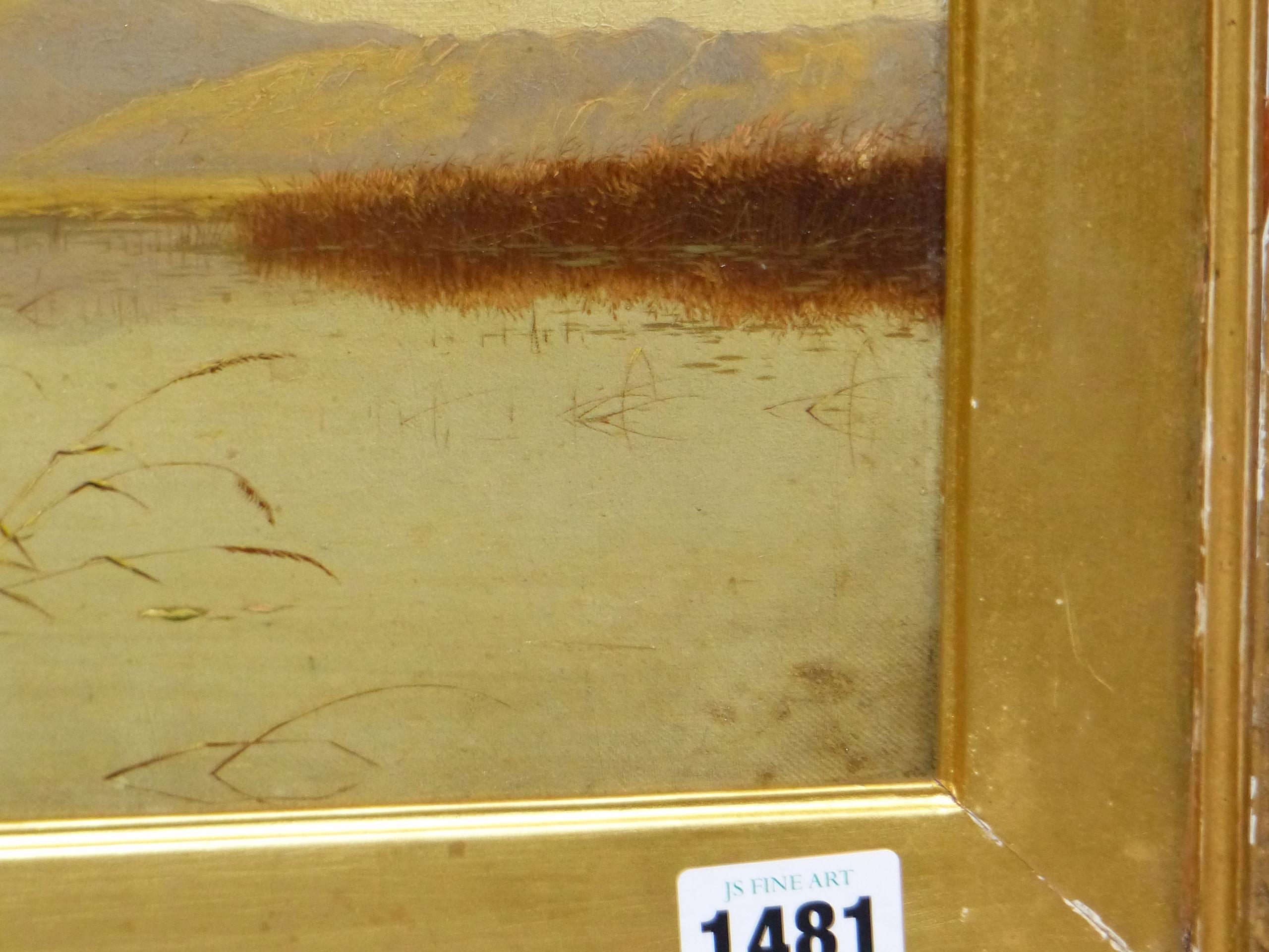 EDWIN BODDINGTON (1836 - 1905) A WELSH LANDSCAPE, OIL ON CANVAS, LABEL VERSO 30 x 56 cm - Image 6 of 9