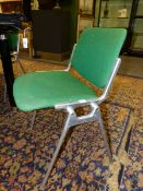 A SET OF SIX GIANCARLO PIRETTI FOR CASTELLI ALUMINIUM STACKING CHAIRS WITH GREEN UPHOLSTERED BACKS A