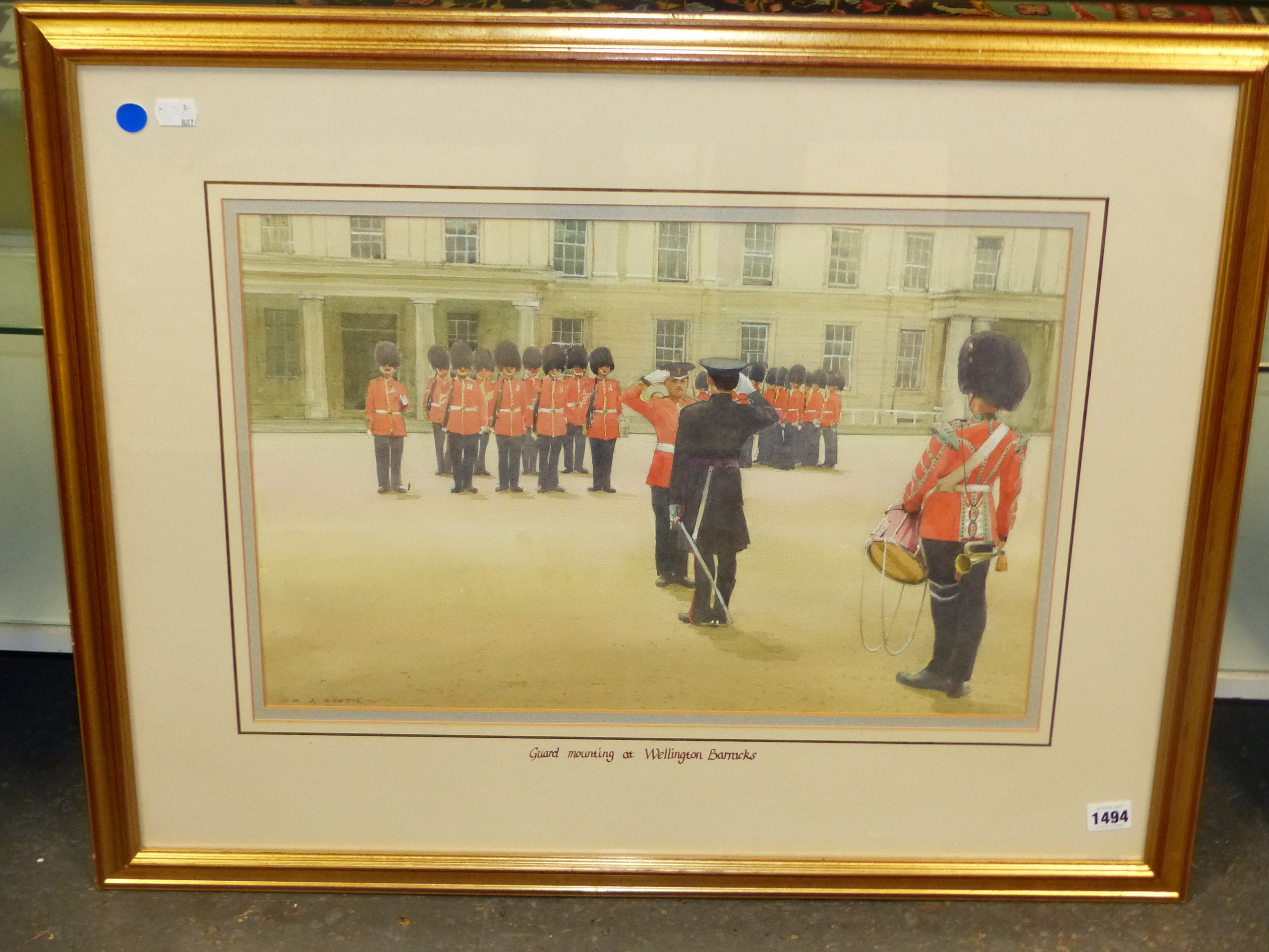 D.J CURTIS (1948 - ) ARR. GUARD MOUNTING AT WELLINGTON BARRACKS. SIGNED WATERCOLOUR GALLERY LABEL - Image 2 of 7
