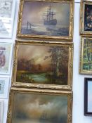 FOUR DECORATIVE LANDSCAPE OIL PAINTINGS (THREE WITH GILT FRAMES) AND A PICTURE OF A INTERIOR (5)