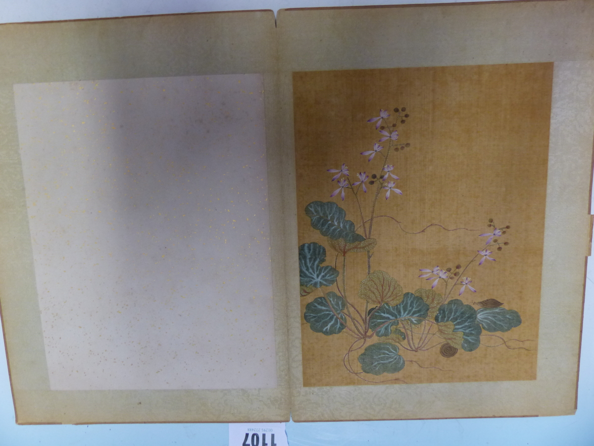 A CHINESE CONCERTINA BOOK OF EIGHT WATERCOLOURS ON SILK PAINTED WITH FLOWERS, BIRDS AND BUTTERFLIES, - Image 6 of 22