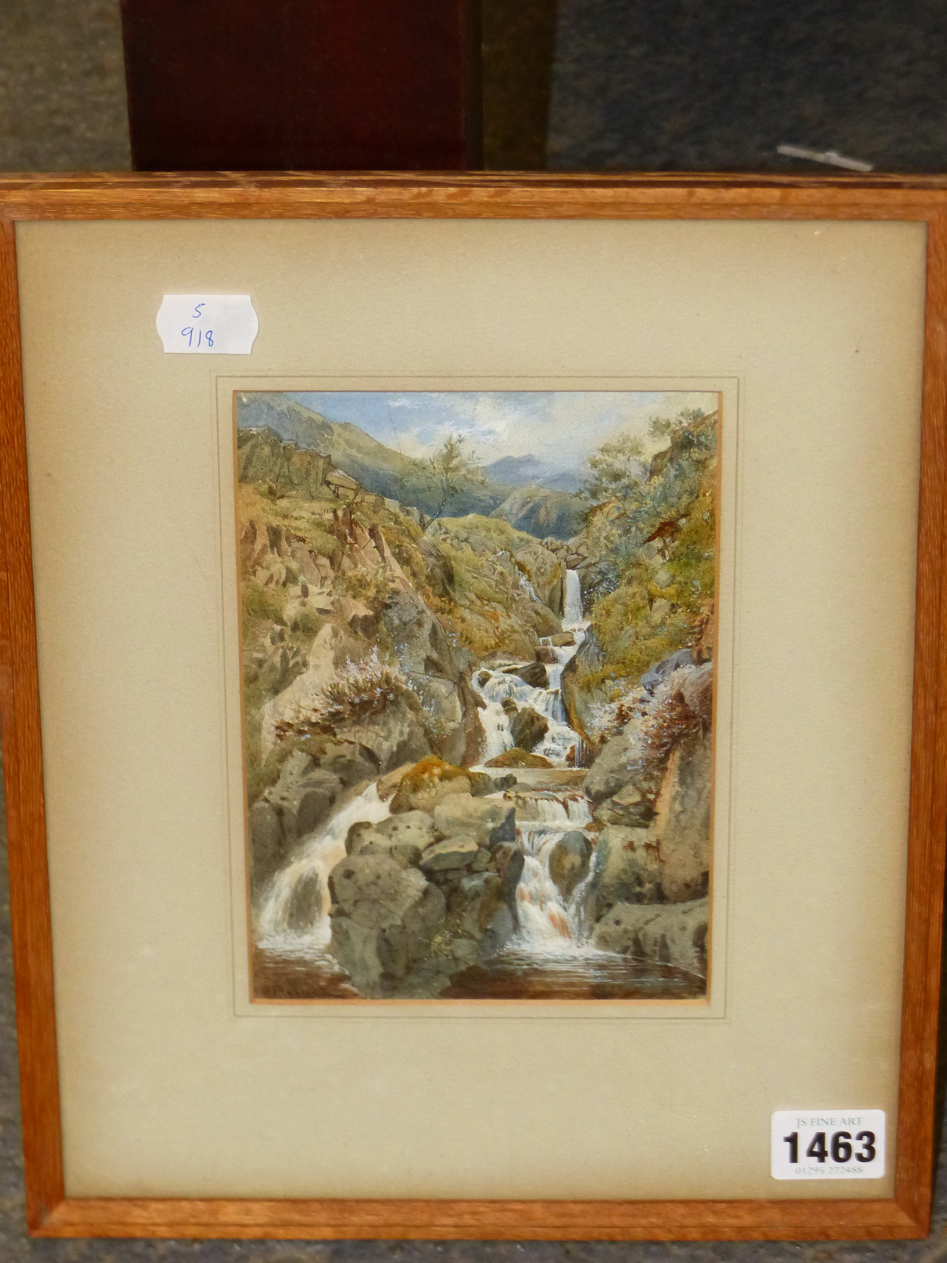 19th/20th C. ENGLISH SCHOOL. A HIGHLAND WATERFALL, SIGNED INDISTINCTLY, WATERCOLOUR 18 x 13cms - Image 3 of 9