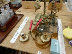 EASTERN BRASS INCENSE BURNER ON STAND, VARIOUS BRASS FINGER PLATES AND OTHER METAL WARES.