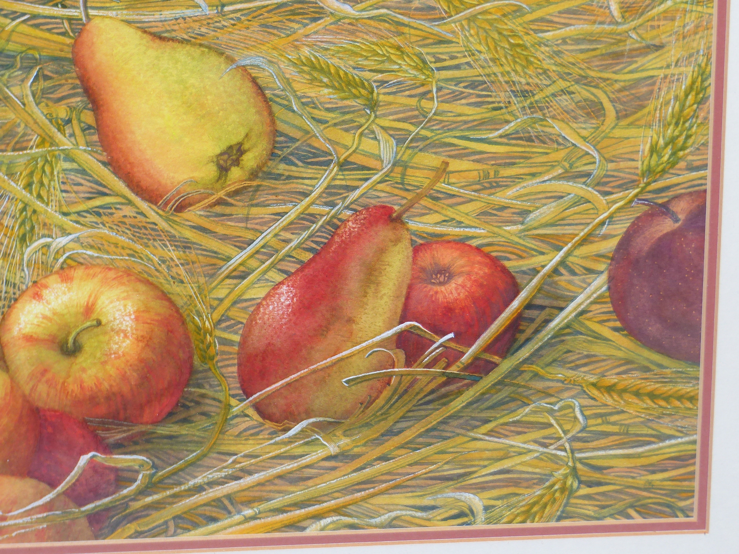 •JOAN LAWRENCE (20th CENTURY SCHOOL). ARR. GALA APPLES AND PACKHAM PEARS, SIGNED WATERCOLOUR, 50 x - Image 5 of 7