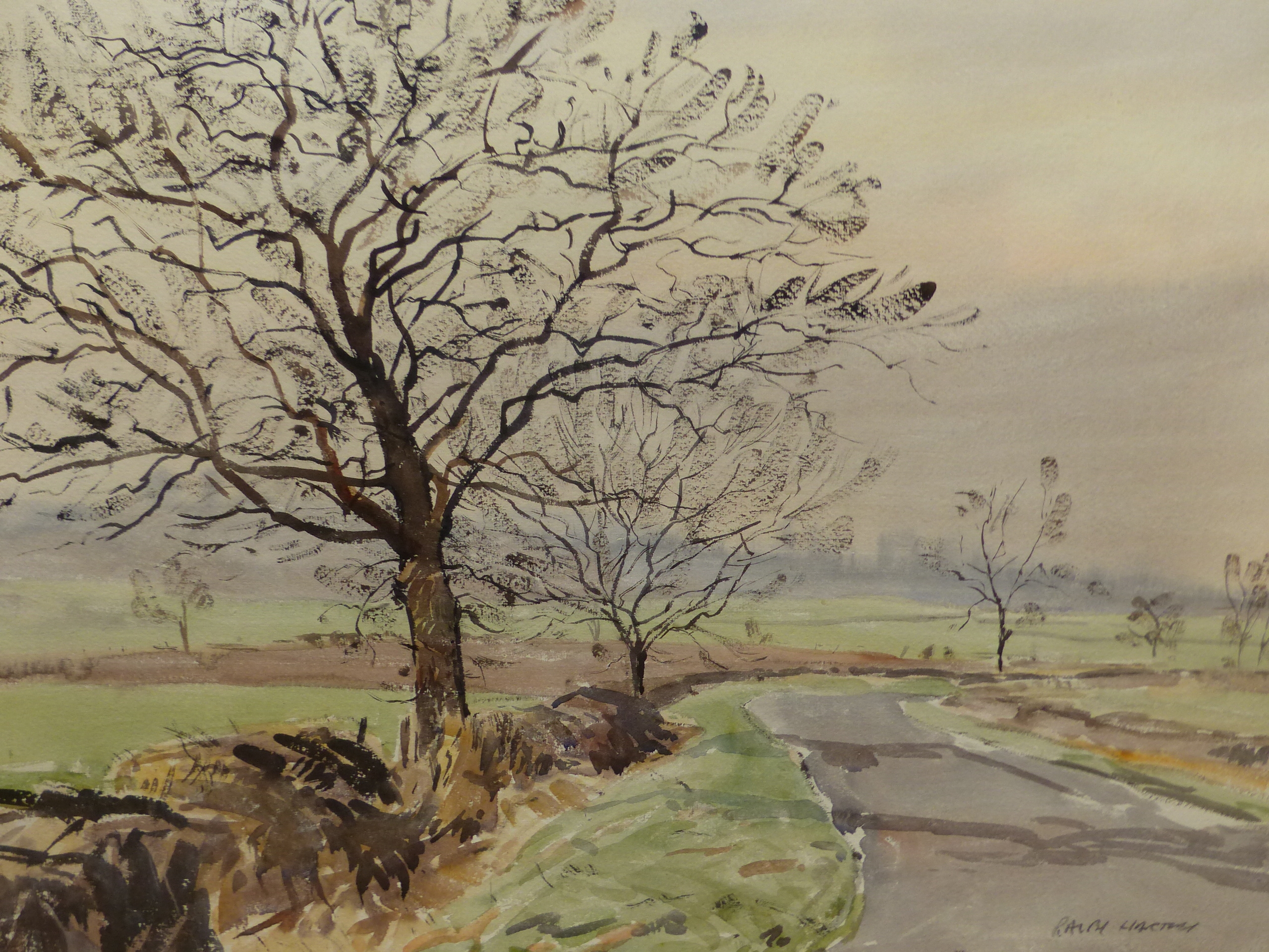 •RALPH HARTLEY (1926-1988 ARR. TWO LANDSCAPE OF TREES IN RURAL SETTINGS, SIGNED WATERCOLOURS 57 x 76