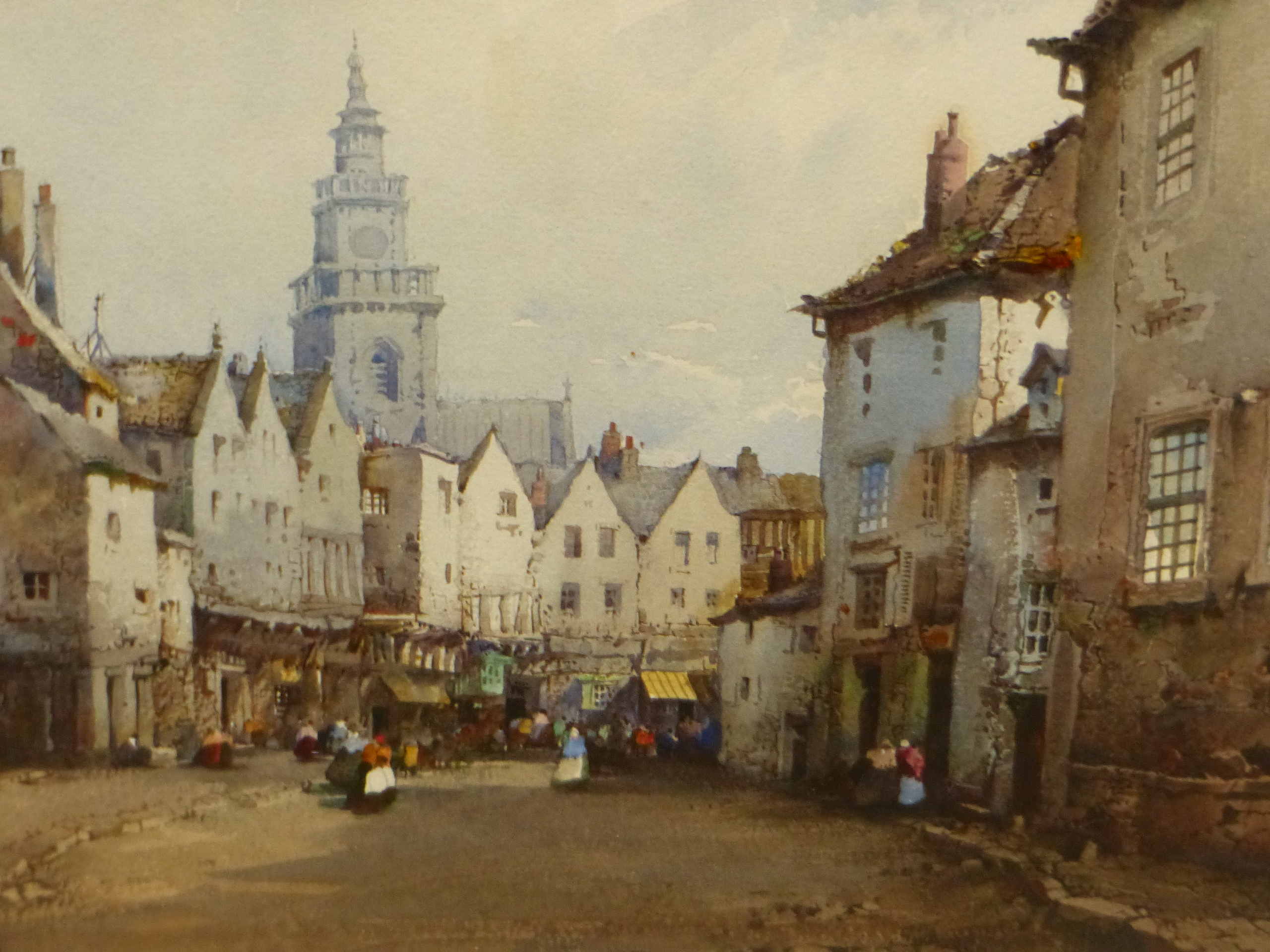 NOEL H LEAVER (1889-1951) THE TOWN MARKET, SIGNED WATERCOLOUR 18 x 26cm - Image 3 of 5