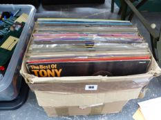 APPROX 50 LP RECORDS TO INCLUDE ELECTRIC LIGHT, BOWIE, ABBA, FLEETWOOD MAC, KING CRIMSON ETC.
