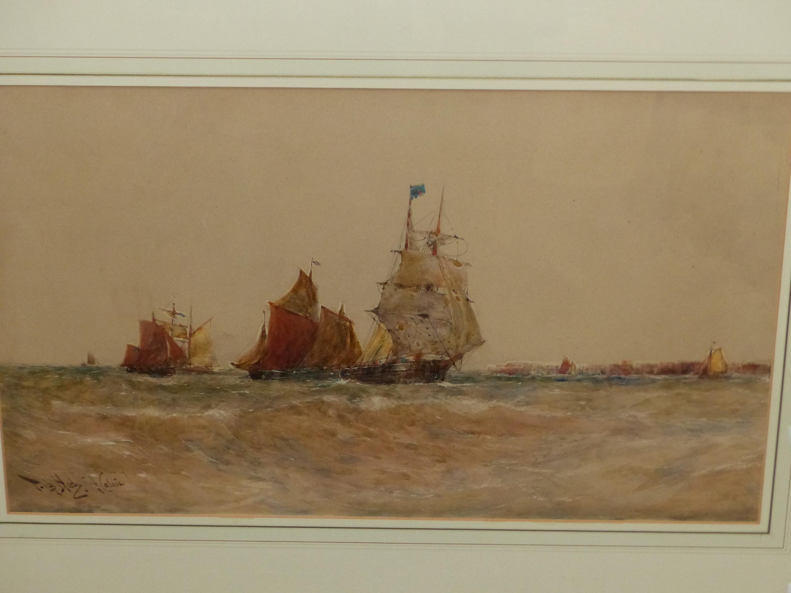 THOMAS BUSH HARDY (1842 - 1897). SHIPPING OFF CALAIS, SIGNED WATERCOLOUR, 40 x 68cms. - Image 5 of 6