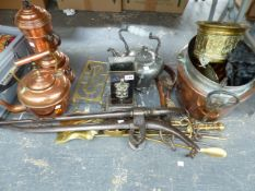 A QUANTITY OF ANTIQUE AND VINTAGE COPPER BRASS AND OTHER METAL WARES.