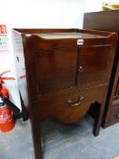 A GEORGE III MAHOGANY NIGHT TABLE WITH GALLERIED TOP, HANDLES PIERCED IN THE SIDES FLANKING A