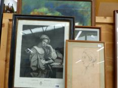 AN ANTIQUE PRINT OF SIBILLA AFTER GUERCINO TOGETHER WITH THREE OTHER DECORATIVE PICTURES, SIZES