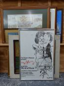 A GROUP OF ANTIQUE AND LATER FURNISHING PICTURES INCLUDING EXHIBITION POSTERS, LANDSCAPES ETC