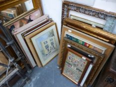 A LARGE QUANTITY OF DECORATIVE PICTURES, SIZES VARY, TOGETHER WITH TWO GILT FRAMED MIRRORS.