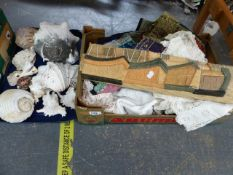 A COLLECTION OF VARIOUS SHELLS AND EASTERN WOVEN AND SEWN TEXTILES, TABLE LINENS ETC.