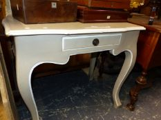 A COUNTRY FRENCH STYLE TABLE WITH SINGLE DRAWER ABOVE CABRIOLE LEGS. W 83 x D 59 x H 77cms.