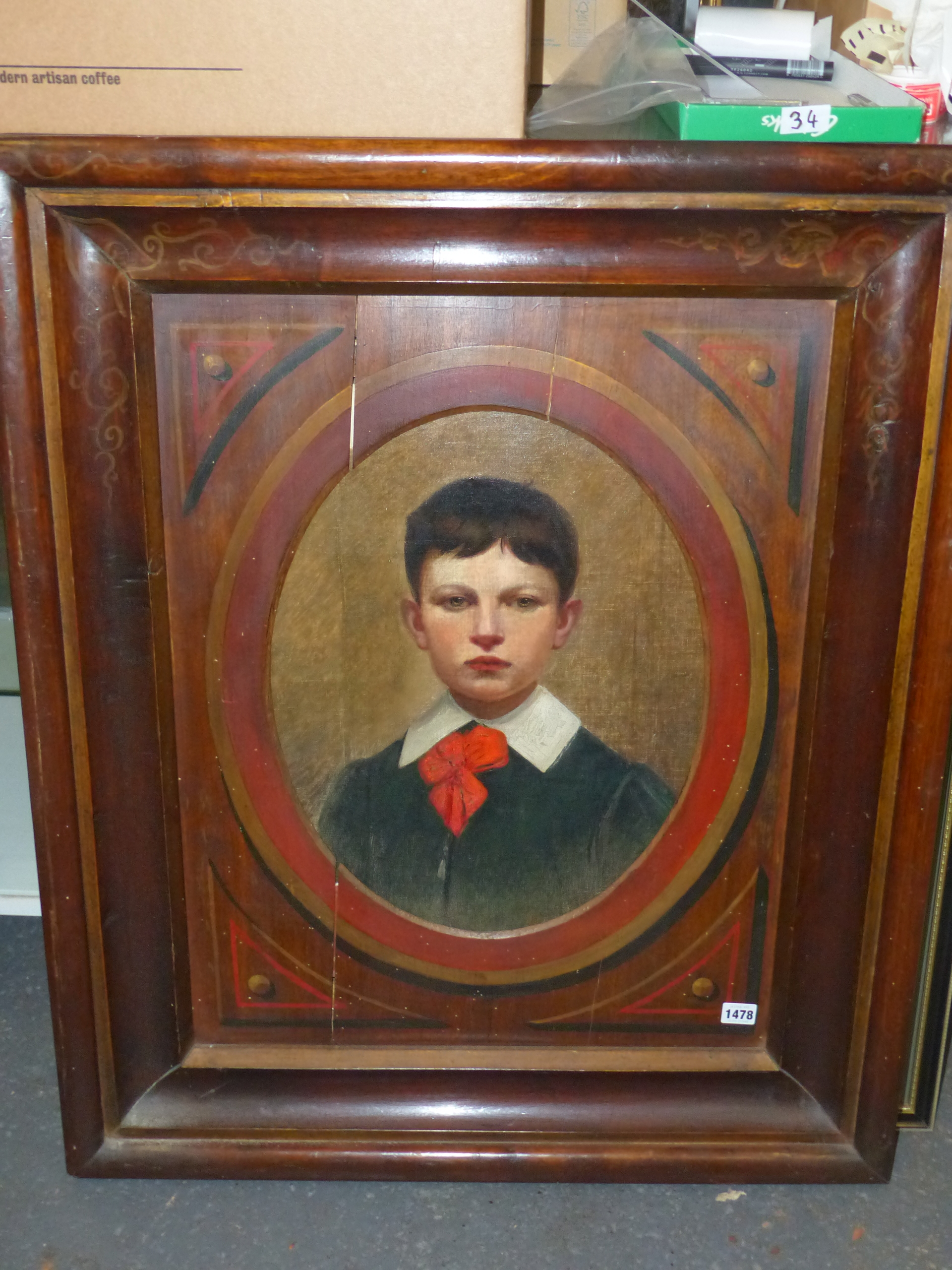 19th CENTURY CONTINENTAL SCHOOL FEIGNED OVAL PORTRAIT OF A BOY. OIL ON CANVAS DECORATIVE PAINTED - Image 2 of 7