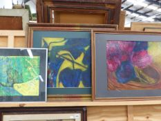 TWO CONTEMPORARY STILL LIFE PAINTINGS BY THE SAME HAND, SIGNED INDISTINCTLY, OIL ON BOARD,