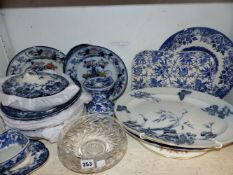 VARIOUS 19TH CENTURY BLUE AND WHITE DINNER WARES ETC
