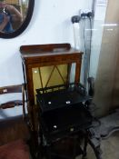 A DISPLAY CABINET, A FIRE SCREEN, A MIRROR AND A TWO TIER STAND