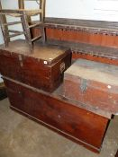TWO TEAK CAMPAIGN TYPE BOXES , A LARGE PINE BOX, A BOOKCASE AND A CHILD'S CHAIR