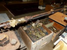 A LARGE QUANTITY OF ANTIQUE AND LATER FURNITURE AND RESTORES BRASSWARES, CASTORS, HANDLES, ETC