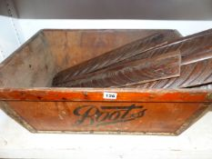A VINTAGE BOOTS CRATE AND VARIOUS OAK CARVINGS