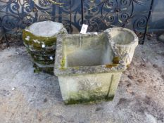 EIGHT OCTAGONAL POT STANDS, A SQUARE PLANTER AND ONE OTHER (10).