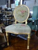 A 19TH CENTURY GILT SIDE CHAIR WITH TAPESTRY UPHOLSTERED SEAT