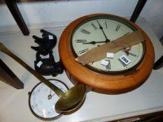 A VINTAGE WALL CLOCK A BRASS LADLE ETC