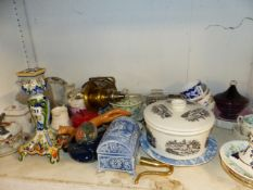A FAIENCE CANDLE STICK, TOGETHER WITH TWO 19TH CENTURY DECANTERS, VARIOUS CHINA AND GLASSWARES ETC