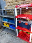 TWO SHELF UNITS AND A QUANTITY OF TOOLS.