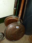TWO VICTORIAN COPPER WARMING PANS