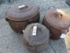 THREE CAST IRON COOKING POTS