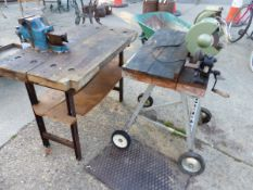 TWO SMALL WORK BENCHES AND A BENCH GRINDER (3)