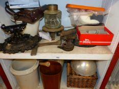 A VICTORIAN BOOT SCRAPER, OTHER METALWARE'S, A RETRO BIN, PICNIC BASKET, ETC