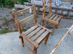 TWO TEAK GARDEN CHAIRS BY R.A. LISTER & CO. LTD