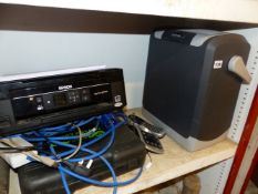 A HALFORDS CAMPING CHILLER, A CAMPING COOKER AND AN EPSOM PRINTER (3)