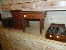 A CUTLERY BOX CONTAINING VINERS RETRO CUTLERY, TOGETHER WITH A CARVED OAK BOX A STOOL AND MINITURE