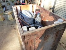 A QUANTITY OF TOOLS ETC IN A LARGE WOODEN CRATE