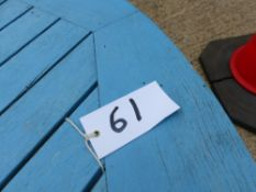 A BLUE PAINTED TEAK GARDEN TABLE BY BARLOW TYRIE