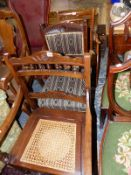 A 19TH CENTURY SPINDLE BACK ARMCHAIR, AN EDWARDIAN COMMODE CHAIR AND A DINING CHAIR (3)