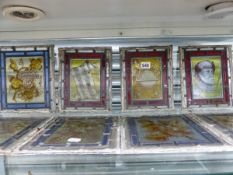TEN LEADED GLASS PANELS MAINLY DEPICTING FRUIT AND FLOWERS, EACH. 23 x 20cms.