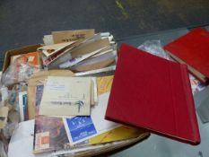 A LARGE QUANTITY OF STAMPS INC. LOOSE EXAMPLES, TWO ALBUMS, COVERS ETC.