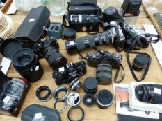 PENTAX, CANON AND OTHER CAMERAS WITH A VARIETY OF LENSES