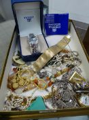 A COLLECTION OF VINTAGE AND OTHER COSTUME JEWELLERY, A WRIST WATCH, A FOB WATCH, SILVER RINGS,